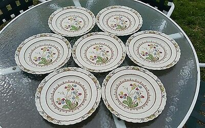 """COPELAND SPODES COWSLIP SET OF 7 Dinner Plates Wicker Weave 10 1/2""""  S713"""