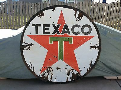 6 FT - 1950's TEXACO Service Station Porcelain Sign - Gas & Oil