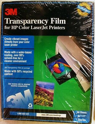 3m transparency film for hp color laserjet - 50 sheets 8.5x11- new
