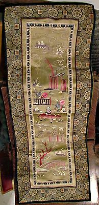 antique vintage chinese silk embroidery panel little boy riding an ox flowers &+