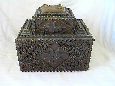 Antique Tramp Art Sewing Box 1894, Hand Made, Victorian