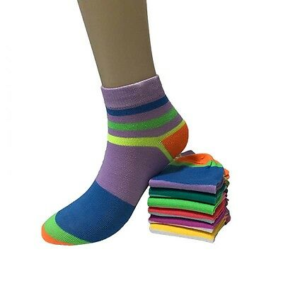 New Fashion Lot 12 Pairs Womens Multi Color Cotton Casual Low Cut Socks Size9-11