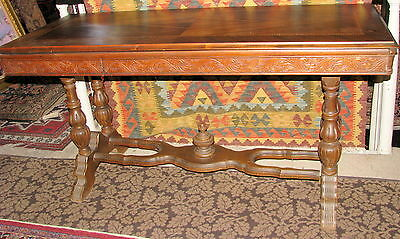 Vintage 1930s Metamorphic Library Sofa Console Table Pressed Carving & Inlay NR