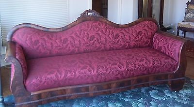 STUNNING Victorian Carved Sofa Parlor Settee Roses Embossed Fabric Civil War Era