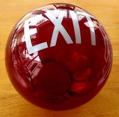 Antique Vintage EXIT Sign Lamp Light Theater Art Deco glass globe office RED