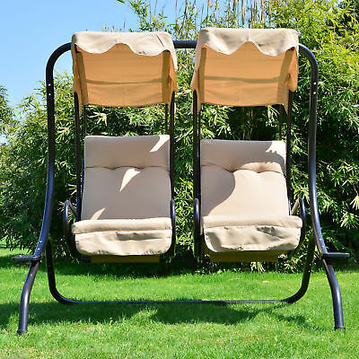 Heavy-Duty Metal Swing Chair 2 Separated Seater Hammock W/ Canopy & Cushions