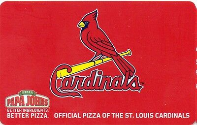 PAPA JOHN'S PIZZA GIFT CARD no value OFFICIAL PIZZA OF THE ST. LOUIS CARDINALS