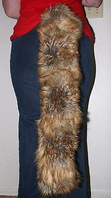 """Brown Wolf or Fox long faux fur tail 29"""""""