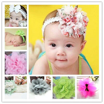 Baby Toddler Lace Bow Flower Girl Kids Headband Hair Band Accessories Headwear