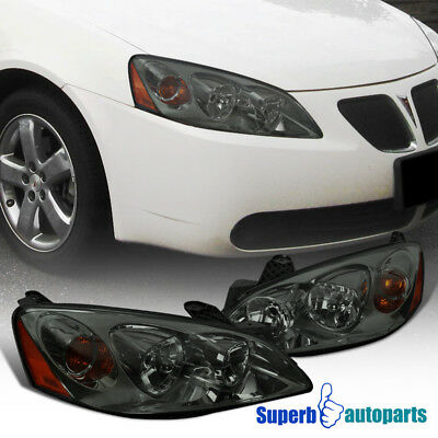 05-10 Pontiac G6 Smoke Headlights Replacement Turn Signal Head Lamps Pair