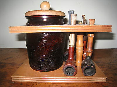 vintage tobacco Humidor and 4 pipe stand and 4 vintage pipes