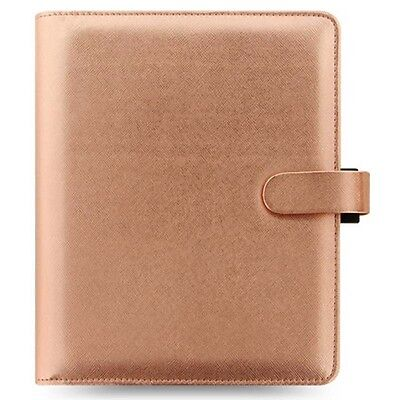 New Filofax Saffiano A5 Organiser Rose Gold Special Edition PU Leather Look