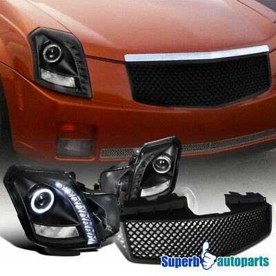 2003-2007 Cadillac CTS SMD LED Halo Projector Headlights+ABS Mesh Grille Black