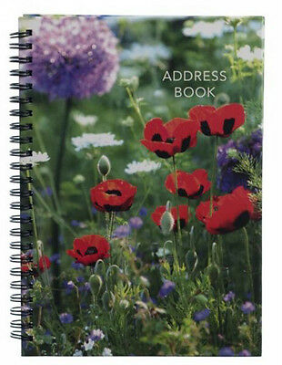 Red Photographic Poppies A5 Address Book 26 Tabbed Alphabetical Sections