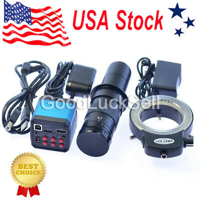 14MP 1080P HDMI HD USB Industrial Microscope Video Camera+180X C-mount Lens US!
