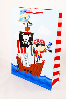 Pirate Gift Bag Extra Large Boys Kids Birthday Present Wrap For Him Cute Tag XL