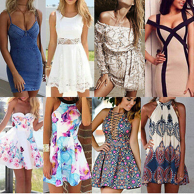 Women Dress Summer Floral BOHO Evening Party Cocktail Casual Short Mini Dress
