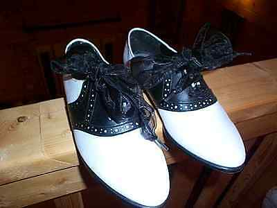 WOMENS ladies Black & White Saddle Oxford Shoes 1950's Costume PARTY size 6.5
