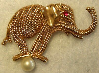 Trunk Up gold cord CIRCUS ELEPHANT on Pearl Ball pin brooch