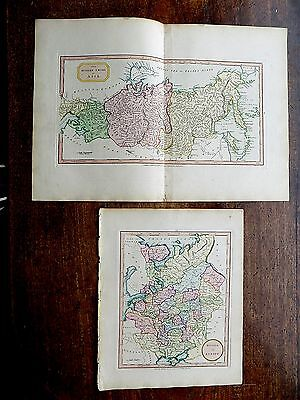 1801 Laurie Whittle Russia in Europe and Asia 2 Old Antique Maps St Petersburg