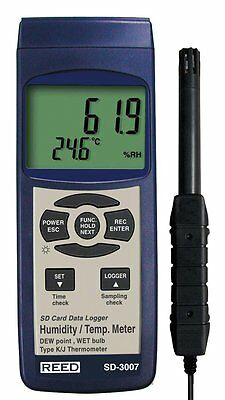 REED SD-3007 SD Series Thermo-Hygrometer Datalogger, (0 to 50°C), 5-95%RH