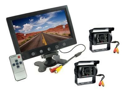 kit 2 telecamere 18 led infrarossi Monitor 9 retromarcia auto camera camper !!!