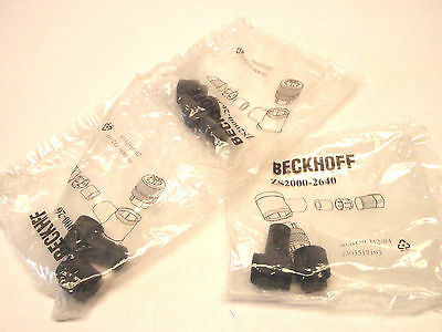 New (Lot of 3) Beckhoff ZS2000-2640 Angled 4 Pin M12 Socket