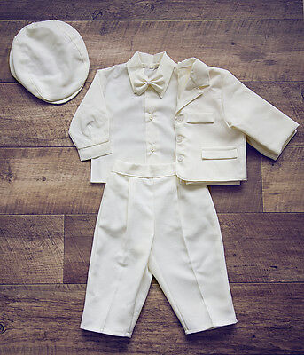 BABY BOY Christening Baptism Linen Set white trousers shirt bow tie cap NEW