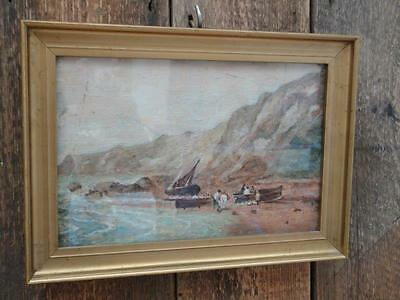 Vintage Oil on Canvas Fishing Boats Horse Seashore Cliffs  Gilt Frame Glazed L