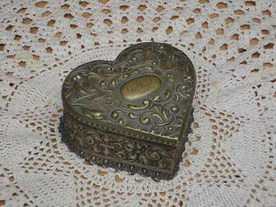 Antique Vintage Embossed Engraved Heart Shape Brass Trinket Box Collectable A4