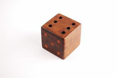 Vintage Danish Teak Pen / Pencil Holder Mid Century Modern Cube