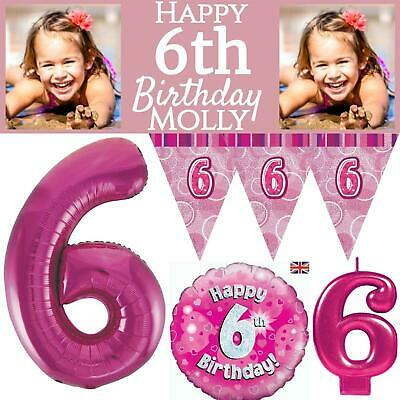 Pink Age 6 Girls Happy 6th Birthday Banner Balloons Confetti Decorations