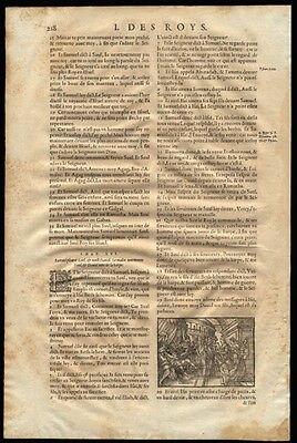 1581 Catholic Bible Leaf 1st Kings 15-16 Woodcut of David Playing Lyre for Saul
