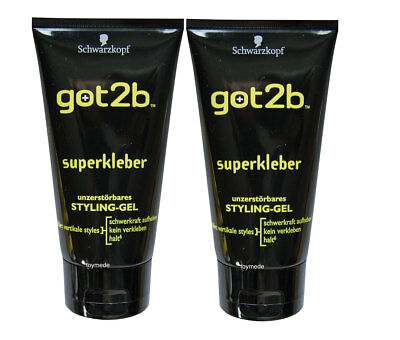2xSchwarzkopf got2b SUPERKLEBER unzerstörbares StylingGel 150ml ultra glued