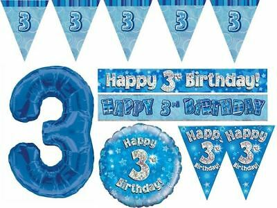 Blue Age 3 Happy 3rd Birthday Party Decorations Banners Bunting Boys Celebration
