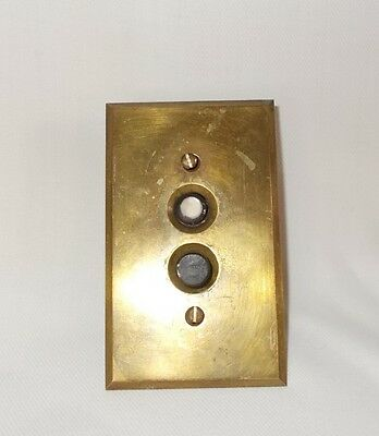 Vintage Perkins Brass Push Button Light Switch Mother Of Pearl Button