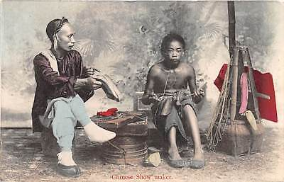CHINA ~ SHOEMAKER AT WORK & CUSTOMER WAITING FOR FINISHED PRODUCT ~ c 1902