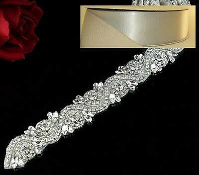 Wedding Belt - Crystal Wedding Sash Belt = 17 inch long in SILVER satin sash