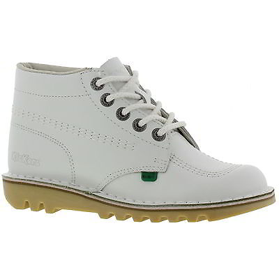 Kickers Kick Hi Womens White Leather Ankle Boots Size 4-8