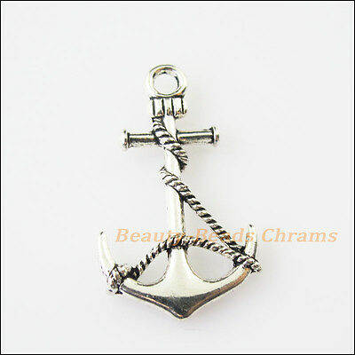 6Pcs Antiqued Silver Tone Shipping Anchor Charms Pendants 19x33mm