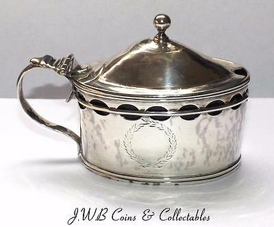 Antique Georgian Silver Mustard Pot Hallmarked London 1797 Inc Cobalt Blue Glass