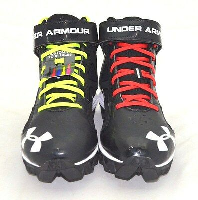 Under Armour Men's Crusher Mid Football Cleats Blk/Wte SZ 8.5 FREE SHIPPING NEW