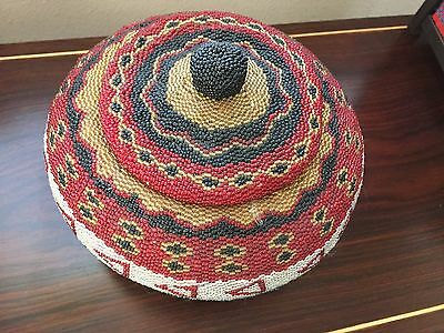 Beaded Bamboo Basket  Handcrafted in Bali Indonesia Original price was $80.00