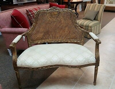 19th C. French Louis XVI Cane Back Corbeille Settee Canapé Carved Floral Accents