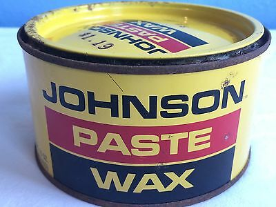 Superb Vintage Full Johnson Paste Wax Metal Can Sc Johnson Metal Leather Wood  Advertise
