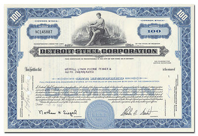 Detroit Steel Corporation Stock Certificate