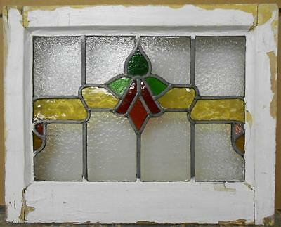 """OLD ENGLISH LEADED STAINED GLASS WINDOW Floral Ribbon Design 20"""" x 16"""""""