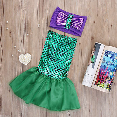 Child Mermaid Ariel Fancy Dress Costume Girls Princess Cosplay