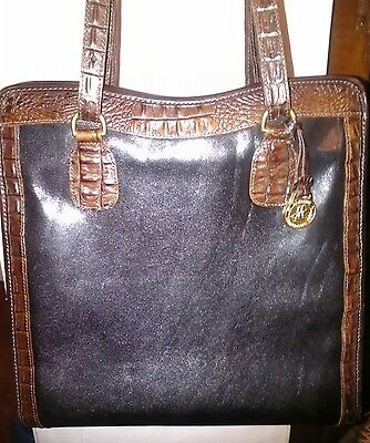 Vintage BRAHMIN Large Black Brown Leather N/S Tote Shopper  Purse Shoulder Bag