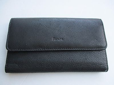 ROLFS Women's Black Leather Tri Fold Wallet Checkbook Card Holder